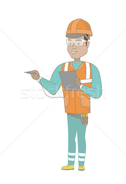 Hispanic electrician with electrical equipment. Stock photo © RAStudio