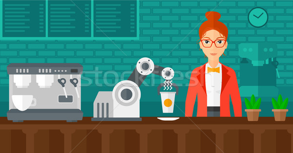 Robot making coffee for a client at coffee shop. Stock photo © RAStudio