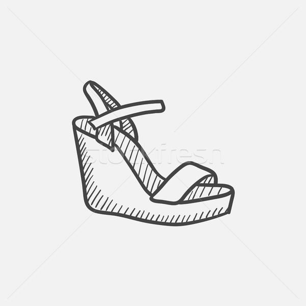 Women platform sandal sketch icon. Stock photo © RAStudio