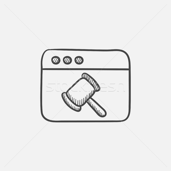 Browser window with judge or auction hammer sketch icon. Stock photo © RAStudio