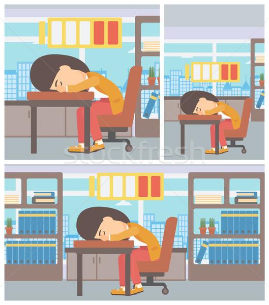Woman sleeping at workplace vector illustration. Stock photo © RAStudio