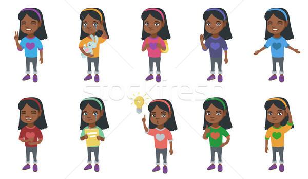 Little african girl vector illustrations set. Stock photo © RAStudio