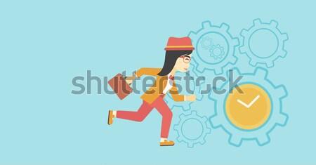 Business woman running vector illustration. Stock photo © RAStudio