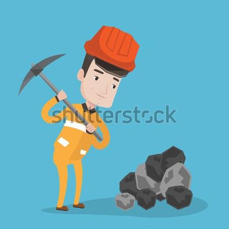 Miner working with pickaxe vector illustration. Stock photo © RAStudio