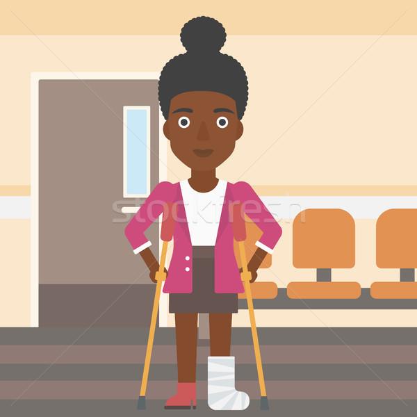 女性 骨折した脚 松葉杖 若い女性 脚 ストックフォト © RAStudio