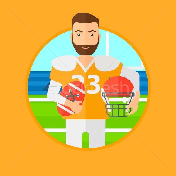 регби игрок мяча шлема рук Сток-фото © RAStudio