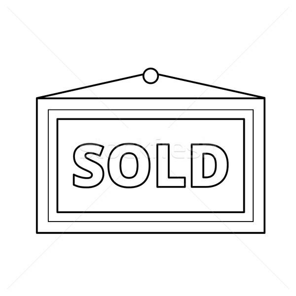 проданный плакат линия икона вектора изолированный Сток-фото © RAStudio