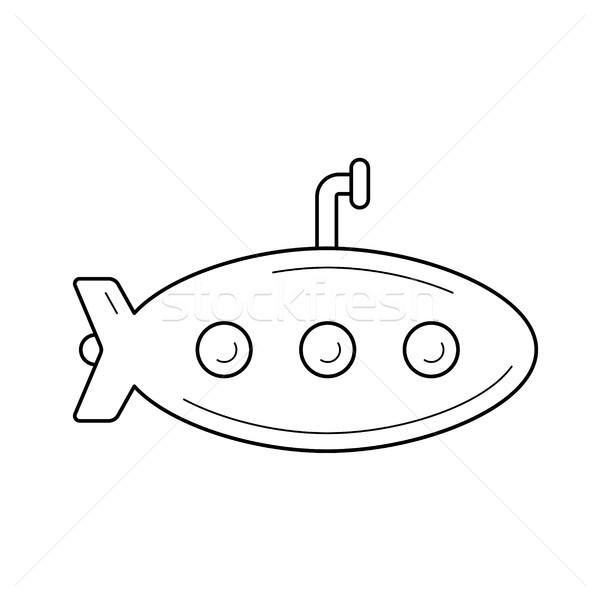 Podwodny line ikona wektora odizolowany biały Zdjęcia stock © RAStudio