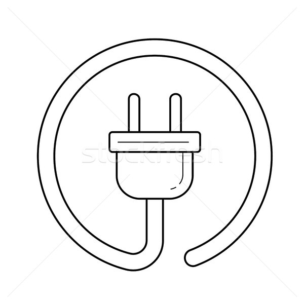 Electric plug vector line icon. Stock photo © RAStudio