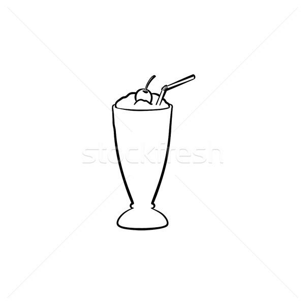 Milk cocktail in tall glass hand drawn sketch icon Stock photo © RAStudio