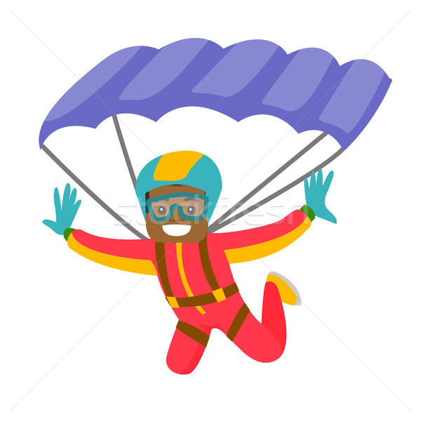 Black man flying with a parachute. Stock photo © RAStudio