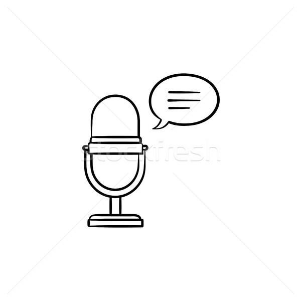 Radio microfoon schets doodle icon Stockfoto © RAStudio