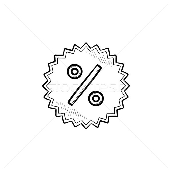 Star pourcentage signe dessinés à la main doodle Photo stock © RAStudio