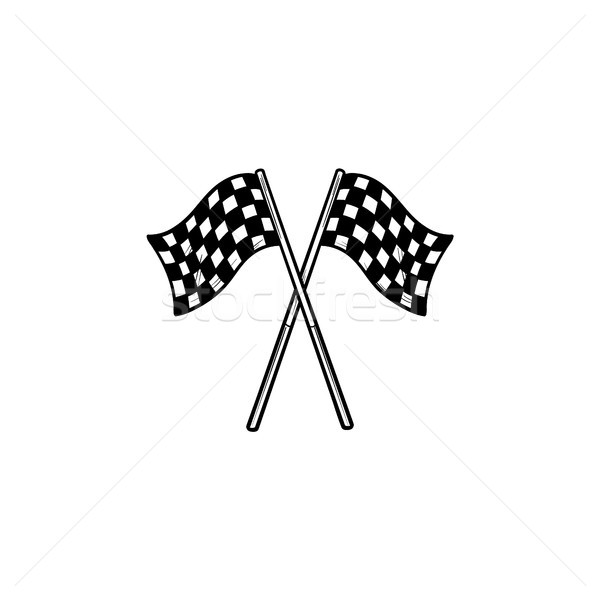 Crossed black and white checkered flags hand drawn outline doodle icon. Stock photo © RAStudio