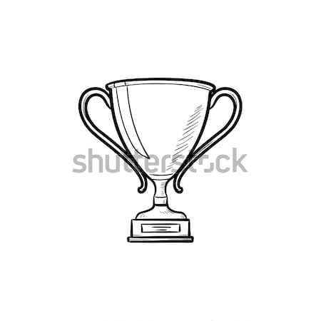 Trófea csésze kézzel rajzolt skicc firka ikon Stock fotó © RAStudio