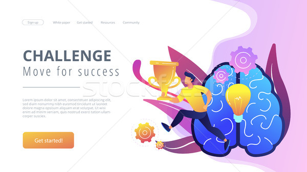 Challenge and move for success concept landing page. Stock photo © RAStudio
