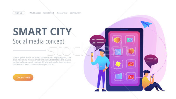 Smart city and social media landing page. Stock photo © RAStudio