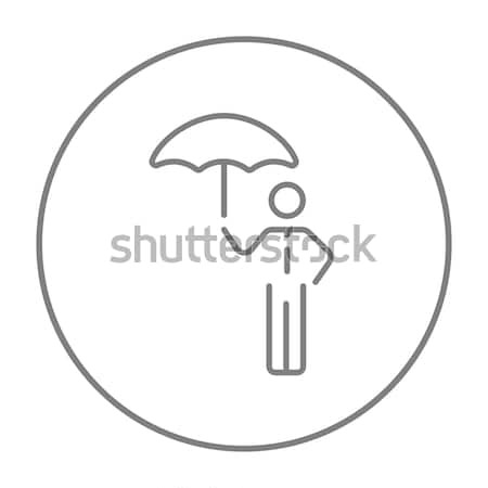 ストックフォト: 男 · 傘 · 薄い · 行 · アイコン · ウェブ