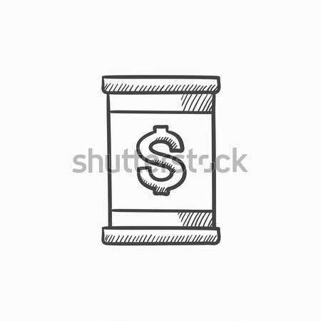 Stockfoto: Vat · dollar · symbool · dun · lijn · icon