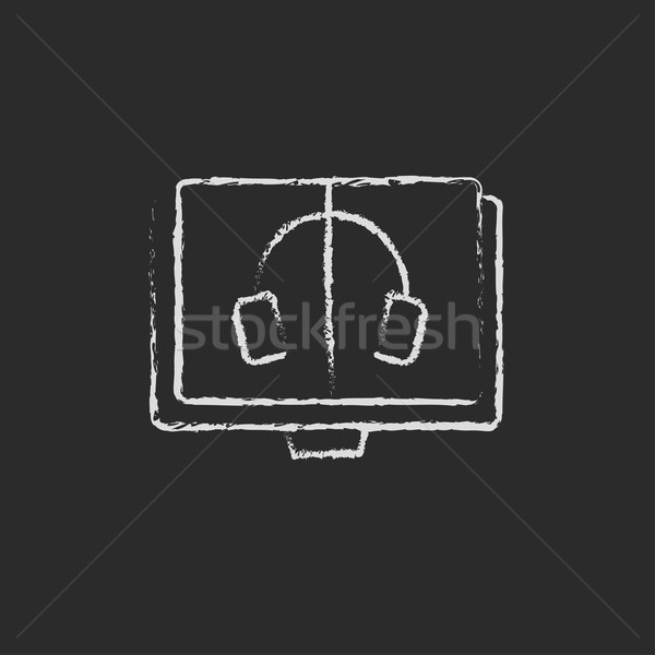 Audiobook icon drawn in chalk Stock photo © RAStudio
