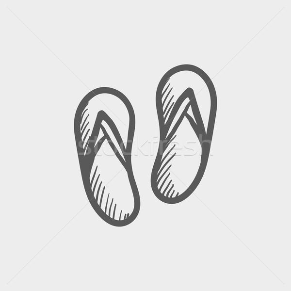 Beach slipper sketch icon Stock photo © RAStudio