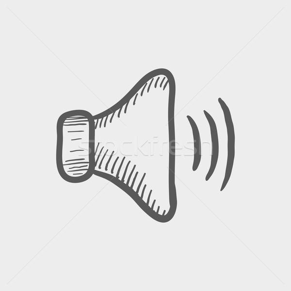 Alto alto-falante volume esboço ícone teia Foto stock © RAStudio