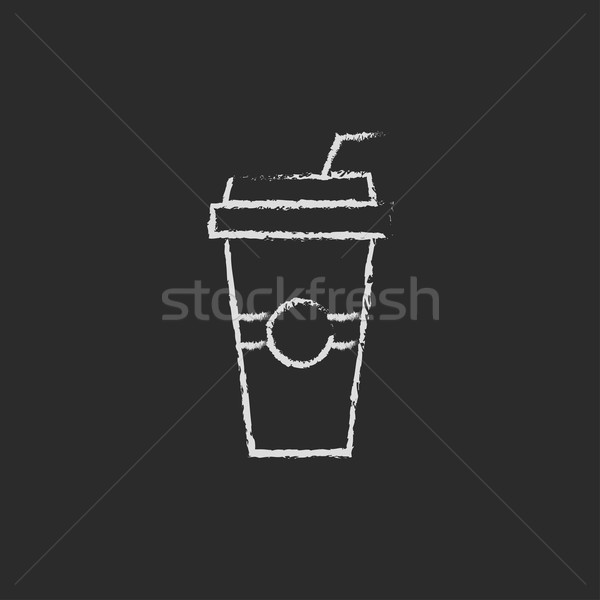 Disposable cup with drinking straw icon drawn in chalk. Stock photo © RAStudio