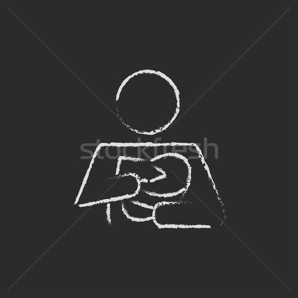 Woman nursing the baby icon drawn in chalk. Stock photo © RAStudio