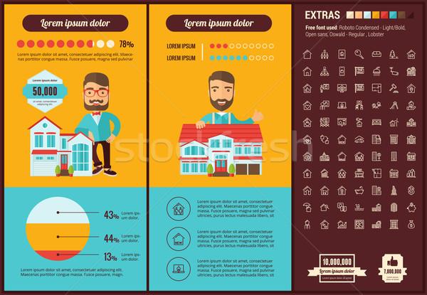Stock fotó: Ingatlan · terv · infografika · sablon · elemek · illusztrációk