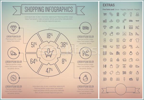 Stockfoto: Winkelen · lijn · ontwerp · sjabloon · communie