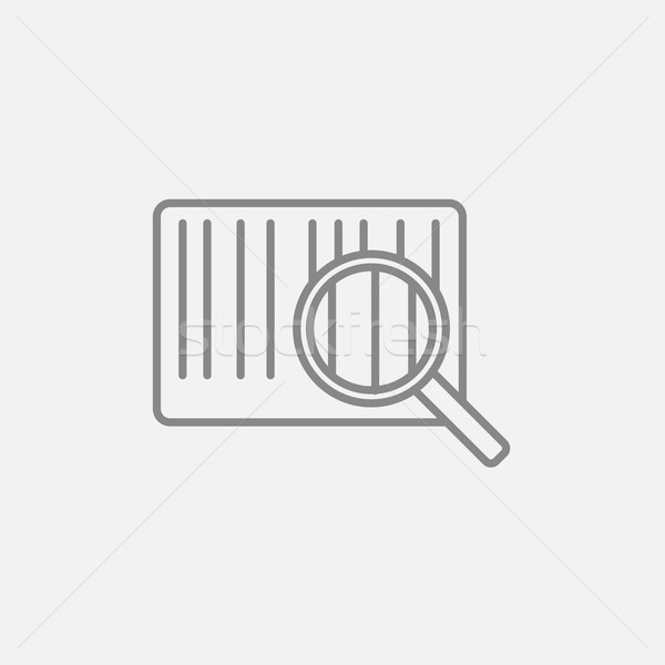 Magnifying glass and barcode line icon. Stock photo © RAStudio