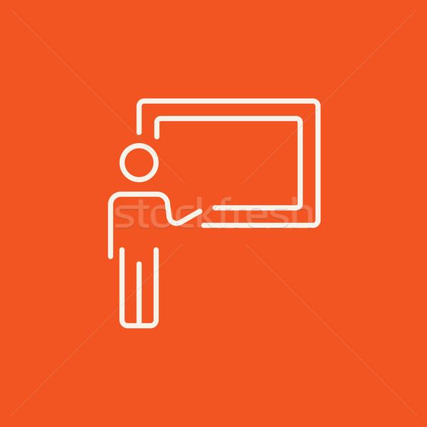 Professor pointing at blackboard line icon. Stock photo © RAStudio