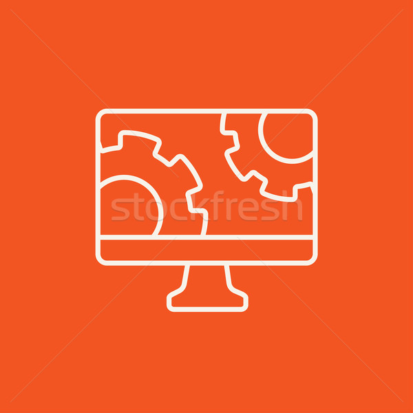 Компьютерный монитор передач линия икона веб мобильных Сток-фото © RAStudio