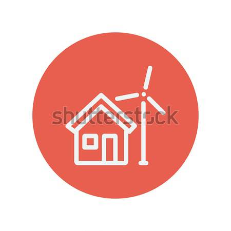 Stock photo: House with windmill line icon.