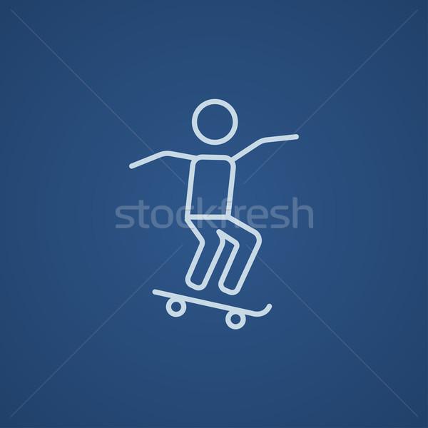 Man riding on skateboard  line icon. Stock photo © RAStudio