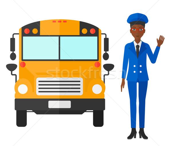 スクールバス ドライバ 立って ベクトル デザイン 実例 ストックフォト © RAStudio