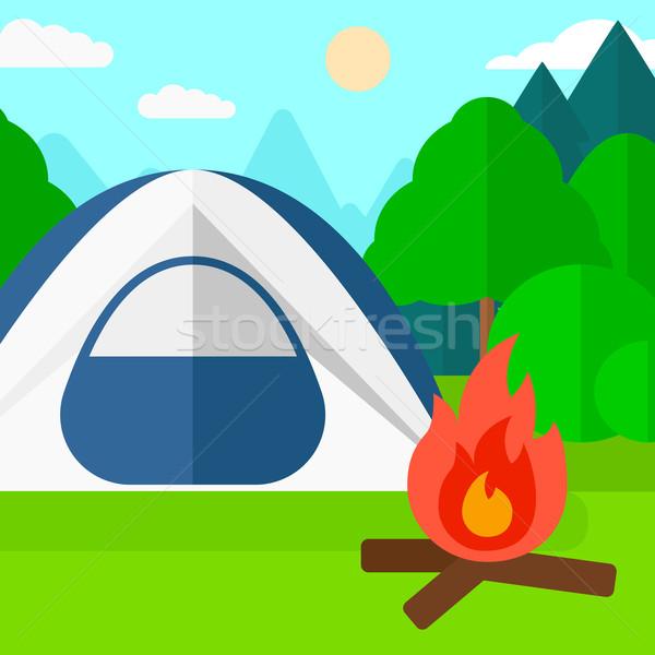 Camping Website Zelt Vektor Design Illustration Stock foto © RAStudio