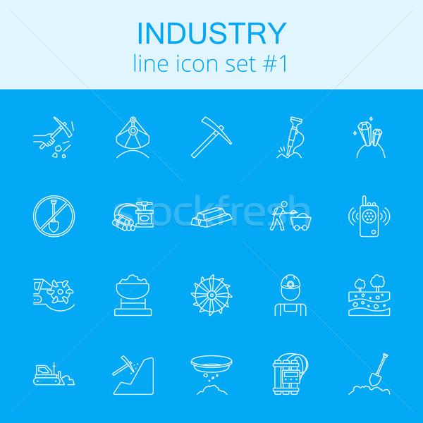 ストックフォト: 業界 · ベクトル · 水色 · アイコン · 孤立した