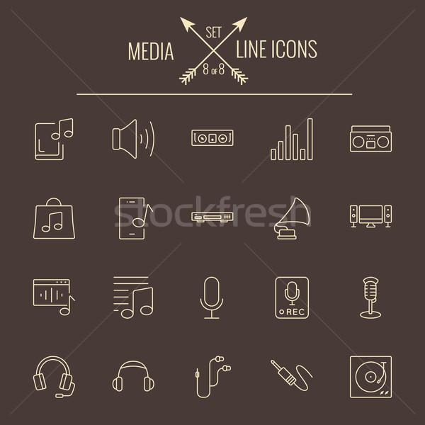 Media vector licht Geel icon Stockfoto © RAStudio