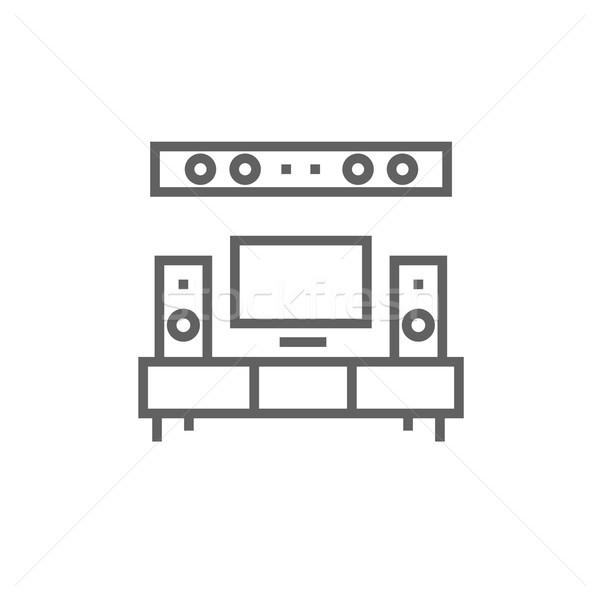 Tv düz ekran ev tiyatro hat ikon Stok fotoğraf © RAStudio