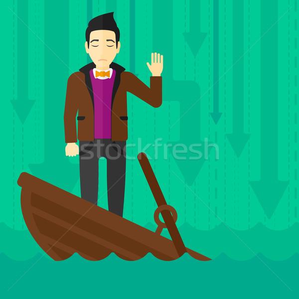 üzletember áll süllyed csónak ázsiai kérdez Stock fotó © RAStudio