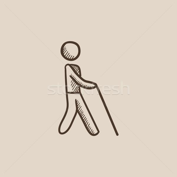 Aveugle homme bâton croquis icône marche Photo stock © RAStudio