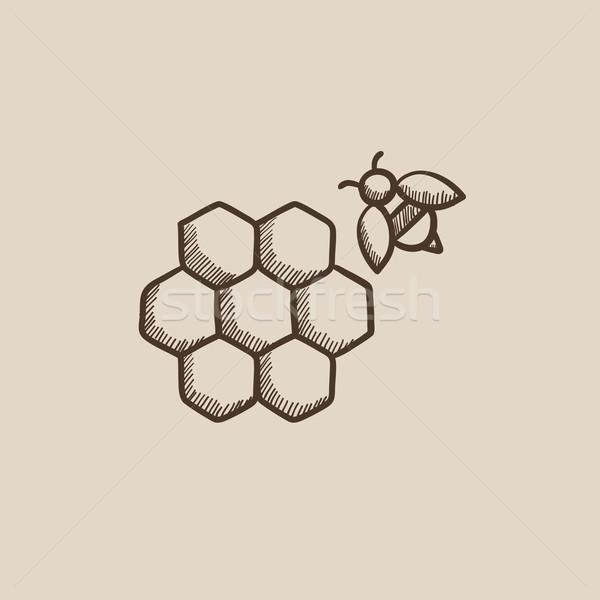 Favo de mel abelha esboço ícone teia móvel Foto stock © RAStudio