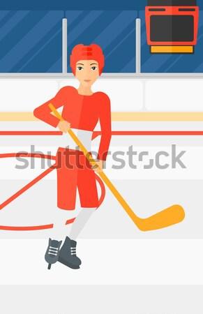 Jugador palo Asia hombre patinaje hielo Foto stock © RAStudio