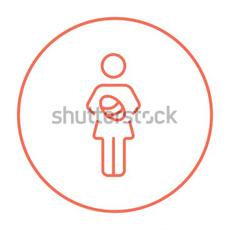 Man with raised arms line icon. Stock photo © RAStudio