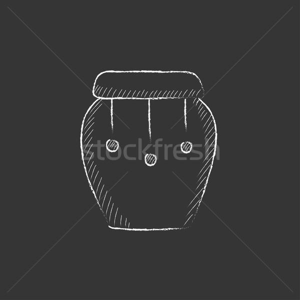 Trommel instrument krijt icon Stockfoto © RAStudio