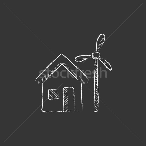 House with windmill. Drawn in chalk icon. Stock photo © RAStudio