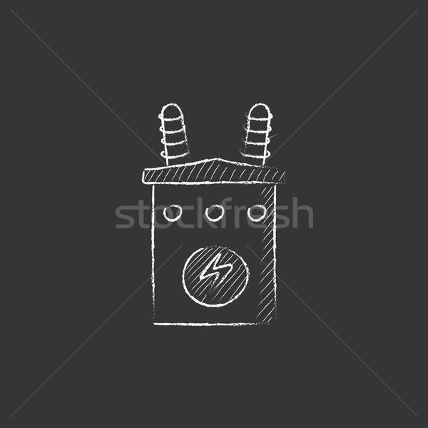 Nagyfeszültség transzformátor rajzolt kréta ikon kézzel rajzolt Stock fotó © RAStudio