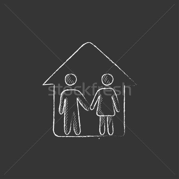 Stockfoto: Familie · huis · krijt · icon