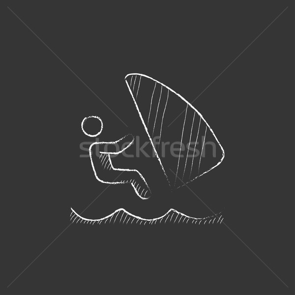Wind surfing. Drawn in chalk icon. Stock photo © RAStudio